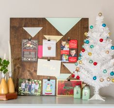 DIY geometric painted christmas card holder