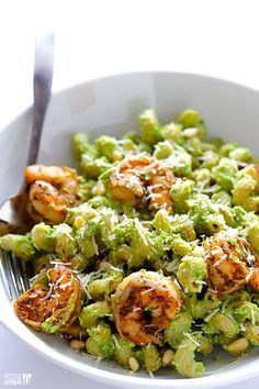Asparagus-Spinach Pesto Pasta with Blackened Shrimp | gimmesomeoven.com (Used gluten free pasta, omitted shrimp, uses basil instead of spinach,used 1/2 cup dry roasted almonds in lieu of pine nuts, 1/4 cup nutritional yeast in place of cheese, and since I forgot to buy lemons, I used lime juice, which still worked perfect. Absolutely delicious!)