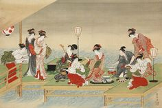 Utagawa Toyohiro (Japanese, 1773–1828), Summer Party on the Bank of the Kamo River, around 1800. Hanging scroll; ink and color on silk. Mary Griggs Burke Collection, gift of the Mary and Jackson Burke Foundation.