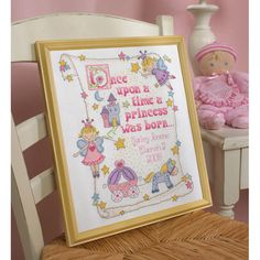 Celebrate the birth of a special baby girl with this counted cross stitch kit. The design features beautiful fairy princesses, a carriage and a fairy tale castle, along with enough room to add the nam
