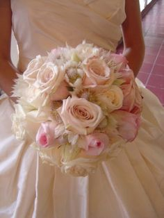 """white silver pink reception flowers ceremony bridesmaids """"bridal bouquet, ivory and pink roses, blushing bride proteas"""" """"empora floral artistry"""""""