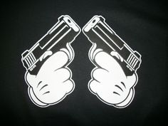 Cool T Shirt Cartoon Hands Pistols Gun 9mm Mickey Mouse Gangster Swag Firearm