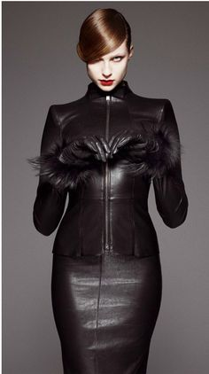 Classy classic domme style. Jitrois F/W 2012 black luxe leather dress