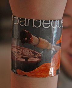 Barbeque potato chip recycled bracelet by RecycledArts on Etsy, $2.50