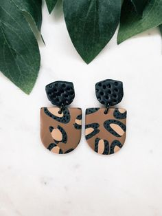 Polymer Clay Earrings - Leopard Print design with textured statement shields studs, attached to statement arch dangles Print Design, My Design, Polymer Clay Earrings, Dachshund, Craft Projects, Dangles, Miniatures, Stud Earrings, Shapes