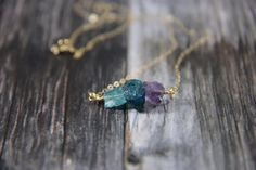 Raw Amethyst Necklace, Natural Apatite Necklace, Rough Nugget, Organic, Gold or Silver Chain, Blue and Purple, Vibrant Crystal, Beaded Bar