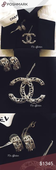 "CHANEL CC Camellia Earring & Pendant Necklace Set A beautiful classic set from the B12 A Collection. Filagree detailing with rope CC's on the earrings. Extra large silver CC Pendant measures 2"" across. Both are brand new in box. The earrings have their original tag attached. CHANEL Jewelry Earrings"