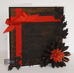 Nordic Christmas - 8 x 8 Christmas time folder - Centura Pearl - Matt Black card - Quilling die: Sunflower large and small - Die'sire Ivy large - Renaissance Gold gliding wax - #crafterscompanion #Christmas