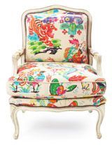 #onekingslane #designisneverdone    this is the kinda chair that all the country club ladies in the 1970s in memphis had...white ground/ bright print...