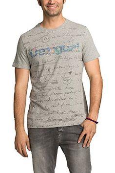 0245aa2d3c7f0b Desigual Marcos - T-shirt - Empire - Imprimé - Col ras du cou - Manches  courtes - Homme - Gris (Grey) - Small (Taille fabricant  S)  Amazon.fr   Vêtements et ...