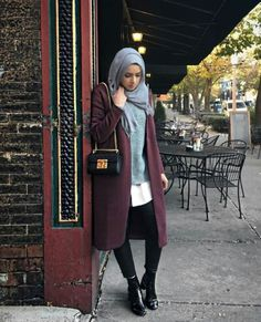 maroon-long-winter-coat-with-grey-outfit- Winter hijab trends http://www.justtrendygirls.com/winter-hijab-trends/