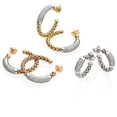 CHIMENTO Stretch Diamonds yellow, white and rose gold earrings with diamonds.