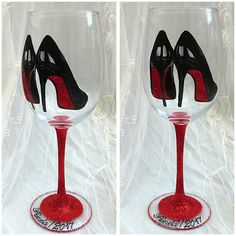 Red sole shoes hand painted wine glass Hand painted pair of red soled shoes which were hand painted onto a large wine glass with sparkling red glitter. Glass is heat set for extra durability and is hand washable. This glass was a recent custom order and will be remade to order. Listing is