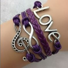 I just added this to my closet on Poshmark: 4 Stranded purple bracelet w/love & clef sign. Price: $10 Size: OS