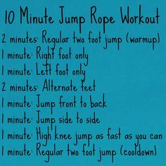 Jump rope workout...out of breath from just reading it--even if it's only 10 minutes!
