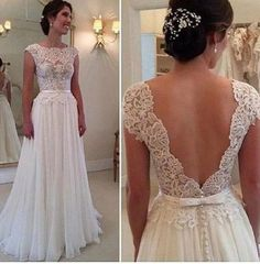 A-line Floor Length Lace Appliqued Cap Sleeves Ivory Chiffon Beach Wedding Dresses,Backless prom dress