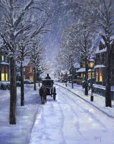 Christmas Snow Scene Paintings for Sale