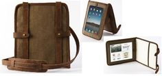 Leather iPad satchel... so sexy.  I think I'm going to get a local leathermaker to make one for me :)  I love my community.