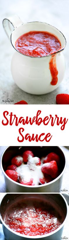 Strawberry Sauce Recipe - The Gunny Sack This easy Strawberry Sauce is delicious over ice cream, crepes, waffles, pancakes, and cheesecake! Crepe Recipes, Fruit Recipes, Sauce Recipes, Dessert Recipes, Cooking Recipes, Recipies, Syrup Recipes, Dessert Sauces, Köstliche Desserts