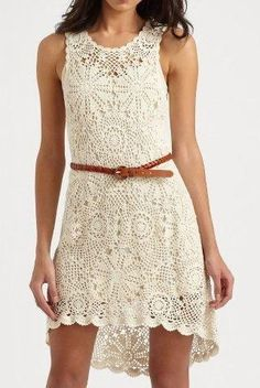 Crochet dress with belt Crochet Blouse, Knit Dress, Knit Crochet, Diy Clothes Design, Nice Dresses, Summer Dresses, Crochet Woman, Fashion Moda, Diy Clothing