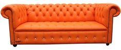 Chesterfield Swarovski CRYSTALLIZED™ Diamond 3 Seater Mandarin Orange Leather Sofa Offer