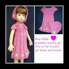 """effner little darling size 13"""" hand knit country girl dress by Miss Shells Heart"""