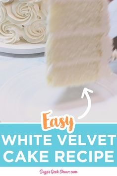 White velvet cake is a soft, delicate cake with a hint of buttermilk and vanilla. This recipe is basically red velvet without the red and is unlike anything you'll find in a box. My favorite icings to The Cheesecake Factory, Homemade Vanilla Cake, Homemade Cake Recipes, Best Vanilla Wedding Cake Recipe, White Cake Recipes, Wedding Cake Recipes, Wedding Recipe, Moist Vanilla Cake, Homemade Breads