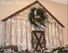 Create this easy DIY Christmas Barn Mantel and create a rustic look in your home this holiday season. Christmas Mantels, Christmas Themes, Christmas Holidays, Christmas Decorations, Christmas 2019, Christmas Stuff, Plaid Christmas, Outdoor Christmas, Homemade Christmas