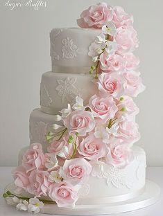 Rosa Kaskaden-Hochzeitstorte - cakes and cupcakes - Cake Toppers! Elegant Wedding Cakes, Beautiful Wedding Cakes, Gorgeous Cakes, Wedding Cake Designs, Pretty Cakes, Wedding Cake Toppers, Pink Wedding Cakes, Wedding Cupcakes, Elegant Cakes