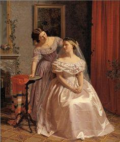 Bruden smykkes af sin veninde (The Bride is Embellished by her Girl Friend) 1859 Henrik Olrik - Statens Museum for Kunst (Danish National Gallery)