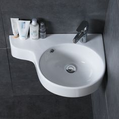 Corner Wall Mounted Bathroom Basin – Ceramic Compact Corner Bathroom Sink is a perfect compact bathroom basin for small spaces in your house or apartments. The smart design of this bathroom sink ensures there is some bench space to keep small packs Corner Sink Bathroom Small, Corner Basin, Compact Bathroom, Small Sink, Corner Wall, Tiny House Bathroom, Sinks For Small Bathrooms, Corner Space, Small Toilet Decor