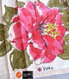 giant pink flower [Vera Neumann tea towel]