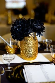 Gold-And-Black-Bridal-Shower-Gold-Mason-Jars