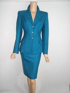 ESCADA 38 6 STUNNING Turquoise Blue Jacket Blazer Skirt Designer WOOL SILK Suit #ESCADA #SkirtSuit