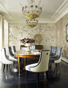 A Divine Dining Room. de Gournay chinoiserie wallpaper in Plum Blossom design. Photographer Eric Piasocki.