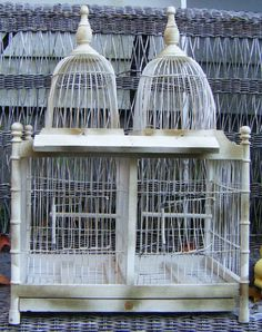 Antique Victorian Wood and Wire Birdcage With Two by parkledge
