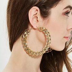 FLASHBUY Trendy Big Alloy Hoop Earrings for women 2020 Gold Circle Round Metal Hoop Eearrings Fashion Jewelry wholesale Hot Sale|Hoop Earrings| - AliExpress Chain Earrings, Gold Plated Earrings, Circle Earrings, Round Earrings, Women's Earrings, Fashion Earrings, Fashion Jewelry, Women Jewelry, Fashion Fashion