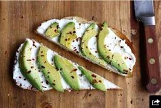 Avocados on toast with ricotta and crushed red pepper