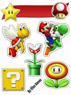 Bolo Do Mario, Bolo Super Mario, Super Mario And Luigi, Super Mario Birthday, Mario Birthday Party, Super Mario Party, 10th Birthday Parties, Mario Crafts, Rainbow Theme