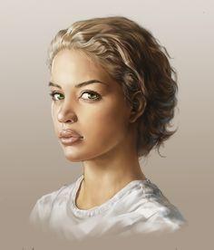 Negro Female Face, sangmin lee on ArtStation at https://www.artstation.com/artwork/e9Ydb