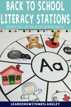 Literacy Centers for kindergarten or preschool are a fun way to manage your work stations. Use during reading groups with easy organization and rotation management. These are hands on for the beginning of the year when you are introducing the alphabet, writing, sight words or just with your struggling readers in first grade. Set up is easy and this back to school theme is perfect! Work Stations, Literacy Stations, Literacy Centers, Kindergarten Centers, Kindergarten Classroom, Alphabet Writing, Letter Identification, Teaching Letters, Struggling Readers
