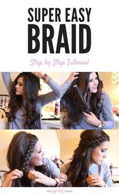 Easy braid for those who can't french braid. Great for growing out bangs too. Hairstyle for long hair. Easy and quick tutorial. Hair tutorial. Last minutes ideas for a night event. Emily Gemma, The Sweetest Thing Blog #easybraid #growyourbang #emilygemma #thesweetestthingblog