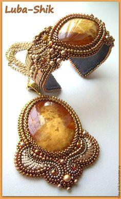"""Купить Кулон+браслет """"Медовые облака"""" - симбирцит, японский бисер, бусина для украшений, натуральные камни"""