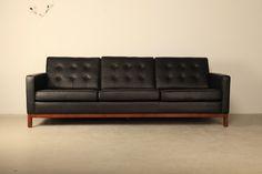 rare 1960 s norwegian modern 4 piece black leather. Black Bedroom Furniture Sets. Home Design Ideas