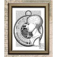 Steampunk Art Print. Head and Barometer Wall hanging, picture,... ($10) ❤ liked on Polyvore featuring home, home decor, wall art, cycle signs, cat wall art, dog home decor, steampunk home decor and dog wall art