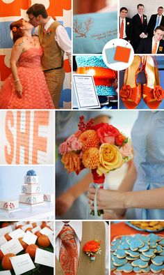 Burnt Orange & Sky Blue | via loveyourdaydesignsblog.com | Wedding Wednesday: Color Happy
