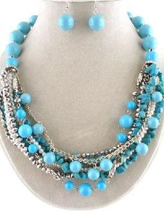 "Layered Necklace Stone Pearls Crystals 20"" Handmade Blue & Silver"