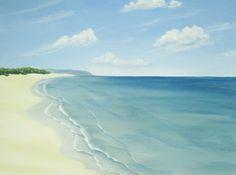 Original Ocean Painting Calm Beach Beach Art by ABFoleyArtworks, on Etsy