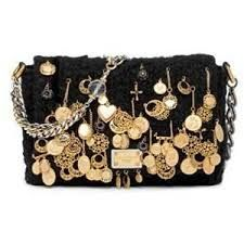 Dolce & Gabbana black wool boucle and gold coins 'Miss Charles' bag - ELLE… Gold Handbags, Purses And Handbags, Fashion Moda, Fashion Bags, Women's Fashion, Gold Coins, Clutch Wallet, Evening Bags, Women's Accessories