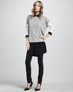 Colorblock Sweater, Oversize Blouse & Slim Jeans by Vince at Neiman Marcus.